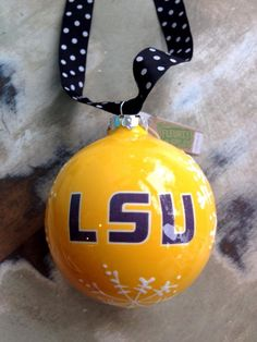 Fleurty Girl - Everything New Orleans - LSU Snowflake Ball Ornament, $12.