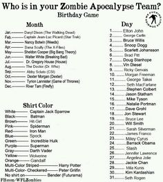 Who is in your Zombie Apocalypse Team? Mine is Abby Sciuto from CSI, Jason Statham, and Captain Jack Sparrow :) But I was really hoping for Daryl Dixon! Birthday Scenario Game, Birthday Games, Zombie Birthday, Birthday Stuff, Zombie Apocalypse Team, Apocalypse Survival, Zombie Apocolypse, Nancy Botwin, Abby Sciuto
