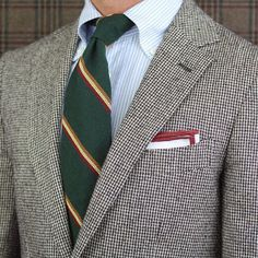 Blue striped button down shirt, green striped repp tie, grey herringbone blazer, tipped p square, casual Friday