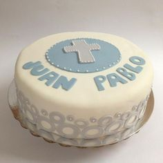 Boy Baptism or First Communion fondant cake Pastel Bautismo o Primera… Fondant Cakes, Cupcake Cakes, Cup Cakes, Baby Dedication Cake, Boy Communion Cake, Candy Bar Party, Cakes For Boys, Love Cake, Round Cakes