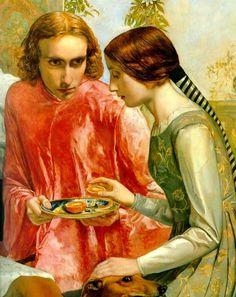 """""""Lorenzo and Isabella""""  de John Everett Millais (detalle). La historia de Isabela y Lorenzo está recogido en el poema de John Keats, """"Isabella, or the Pot of Basil"""" (Isabel o la Maceta de Albahaca), inspirado a su vez en el cuento de """"Lisabetta y su maceta de Albahaca"""" incluido en """"El Decameron"""" de Boccaccio."""