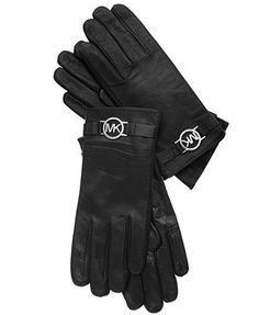 MICHAEL Michael Kors Leather with Logo Trim Gloves