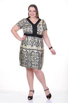 Moda feminina plus size   86756 Vestido kimono estampado