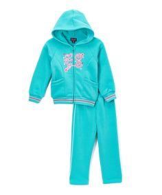 Blue 'Love' Jacket & Pants - Infant, Toddler & Girls