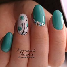 Нетипичный Маникюр flower nail design idea | teal flower #nails