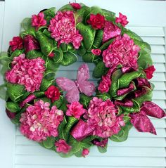 Pretty Pink Deco Mesh Spring Wreath Free by McFabulousCreations, $90.00