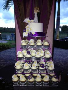 wedding cupcakes and topper cake with handmade white and purple calla lilies