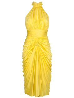 ALEXANDER MCQUEEN Yellow Marilyn Dress Featuring a ruched halterneck with rear concealed button fastenings, no sleeves, an open back, a fitted waist, a draped ruched pleated midi length and a rear central concealed zip fastening.  $1991 at FarFetch