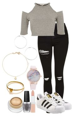 """""""Untitled #403"""" by ines-321 ❤ liked on Polyvore featuring River Island, adidas Originals, Rimmel, rms beauty, OPI and Estella Bartlett"""