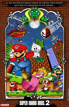 This is my Rendition of Super Mario Bros. its my favorite NES Mario Game and I wanted to give it a serious feel, like that of a movie poster. Super Mario Bros 1985, Super Mario Games, Super Mario Art, Super Mario World, Vintage Video Games, Retro Video Games, Video Game Posters, Video Game Art, Game Character Design