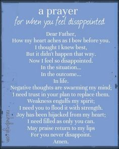 A prayer for you feel disappointed
