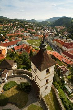 Kremnica, Slovakia. The town of Kremnica seen from the castle in central Slovakia. The well-preserved medieval town built above important gold mines is the site of the oldest still-working mint in the world.