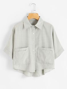 SheIn offers Dip Hem Dual Pockets Front Shirt & more to fit your fashionable needs. Girls Fashion Clothes, Teen Fashion Outfits, Look Fashion, Korean Fashion, Cute Comfy Outfits, Stylish Outfits, Cool Outfits, Crop Shirt, Shirt Blouses