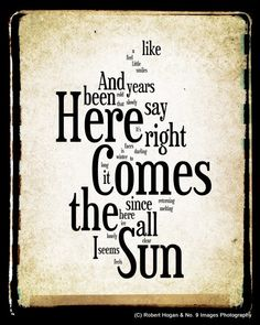 Here Comes the Sun Lyrics  The Beatles Word Art  Word by no9images, $30.00