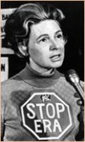 A much younger Phyllis Schlafly, campaigning against feminism & the E R A / Equal Rights Amendment