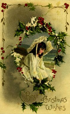Victorian lady in white - Best Christmas Wishes