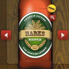 Maak een bieretiket met deze gratis tool. Leuk om een echt gepersonaliseerd flesje cadeau te geven. Kies zelf de kleuren en de letters op het bieretiket.