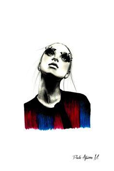 """""""Dramatic eyelashes"""" dibujo hecho con grafito y lápices de colores"""