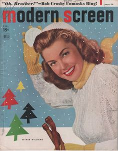 Esther Williams sporting winter garb on the February 1949 cover of Modern Screen magazine. vintage 1940s fashion outdoors