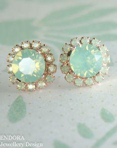 Mint green crystal stud earrings   MInt green wedding   Mint green opal earrings   Mint bridesmaid   #EndoraJewellery