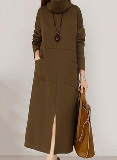 Cotton Solid Long Sleeve Mid-Calf Casual Dresses (1025684) @ floryday.com