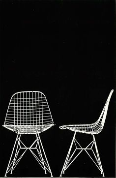 Eames Upholstered Wire Chairs, without upholstery, By Herman Miller International, our European partner circa 1958 to 1980, run by the Fehlbaum family