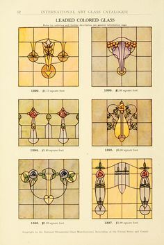 International Art Glass Catalogue, National Ornamental Glass Manufacturers Association of the United States and Canada 1914. Love these - I think I'll adapt one for my bathroom...but which one???