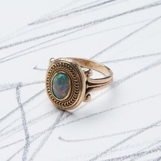 Victorian Era Black Cabochon Opal Cocktail Ring with Rope Motif | Cheyenne from Trumpet & Horn
