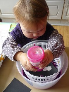 Our 2 year old has always loved the salad spinner. Might need to give this a try - salad spinner art?