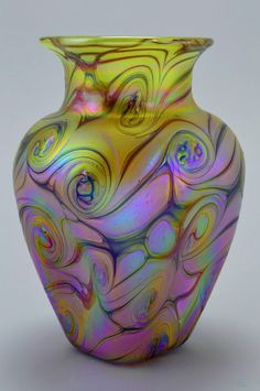 Cute Bohemian Art Nouveau Style Iridescent Glass Studio Vase
