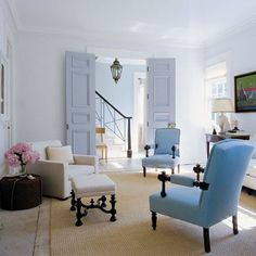 {Steven Gambrel} Glossy walls of palest blue. And french blue doors instead of the usual white.
