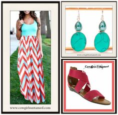 GET READY FOR SUMMER in our Chevron Stripe Sleeveless Chiffon Maxi Dress/ Sterling Silver Turquoise Earrings/ Pink Coral Strappy Sandals  #dress #maxidress #long #cowgirl #western #style #fashion #gypsy #stripes #chevron #turquoise #silver #earrings #gemstones #sandals #shoes #pink #gladiator #bohochic #wholesale #aqua #boutique #womens #clothing #womensfashion #onlineshopping
