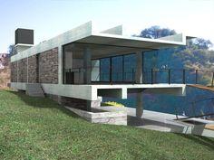 Ricardo Sargiotti con x-arquitectos anteproyecto casa CD / 2006 vista desde vecino Sur