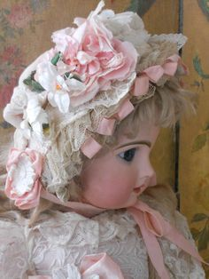 ~~~ Most Beautiful French BeBe Muslin Dress with Bonnet ~~~ from whendreamscometrue on Ruby Lane