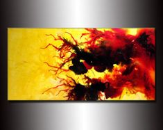 Abstrakte Malerei, Original abstrakte Malerei, moderne, zeitgenössische Kunst, bunte Leinwand Kunst von Henry Parsinia Large 48 x 24
