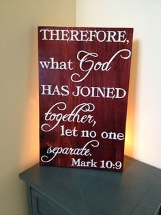 What God has Joined together let no one Separate. Mark 10:9 Wedding gift, by MamaHessPainting, $30.00 by lea