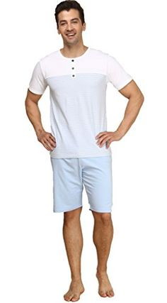 6ef9524dc8a Suntasty Men s Summer Sleepwear Lounge Set Short Sleeve Pajamas Shorts with  Top High quality fabric that is soft and light makes a full close to skin  and ...