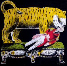 Man Slain by a Tiger, a silkscreen by Clive Hicks-Jenkins National Museum Of Wales, Green Knight, Decoration, Slay, Printmaking, Ephemera, Illustrators, Modern Art, Contemporary