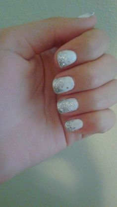 My actual nails. White gel nails with silver sparkle ombre.❤❤