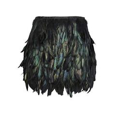 Black rooster coque feather skirt mini length for party event ❤ liked on Polyvore