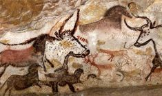 Lascaux cave art, horses, aurochs and deer Lascaux, Fork Art, Old Cartoons, Old Paintings, Glyphs, Ancient Art, Trees To Plant, Cave, Deer