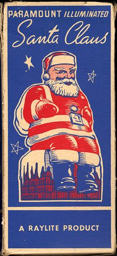 Vintage three color Raylite Santa packaging.