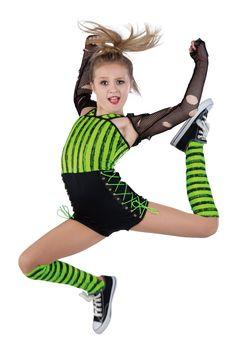 15353 High Voltage | Hip Hop Funk Dance Costumes | Dansco 2015 | Printed and black spandex short unitard. Separate black mesh shrug. Black spandex binding and grommeted black web trim. Socks and cord for lacing included.
