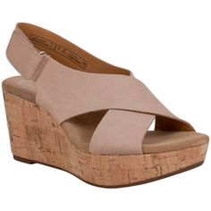 Clarks Women's Caslynn Shae Slingback Cork Wedge Sandal ($120) ❤ liked on Polyvore featuring shoes, sandals, tan, clarks sandals, rubber sole shoes, toe strap sandals, sling back sandals and tan cork wedge sandals