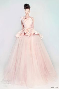 rami kadi wedding dress in pink silk