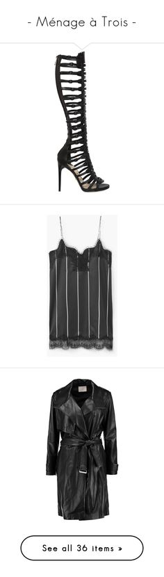 """""""- Ménage à Trois -"""" by carla-turner-bastet ❤ liked on Polyvore featuring shoes, sandals, black, high heel sandals, black leather shoes, high heel platform sandals, buckle sandals, black gladiator sandals, dresses and v neck lace dress"""