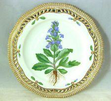 ANTIQUE Royal Copenhagen FLORA DANICA AJUGA GENEVENSIS L Dish Plate China
