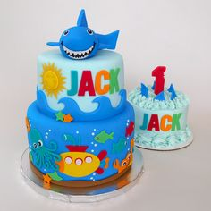 Shark Attack Cake with matching smash cake