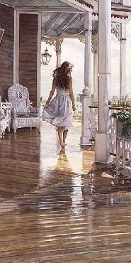 Beautiful study of reflections on a shaded porch. Steve Hanks Sunshine After the Rain Giclee on Canvas