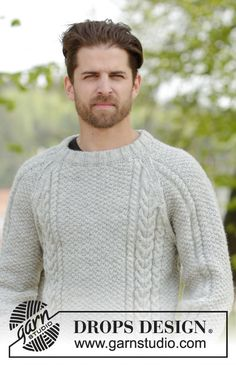 Men - Free knitting patterns and crochet patterns by DROPS Design Mens Knit Sweater Pattern, Mens Cable Knit Sweater, Jumper Patterns, Cable Knitting Patterns, Knitting Designs, Free Knitting, Crochet Patterns, Drops Design, Magazine Drops